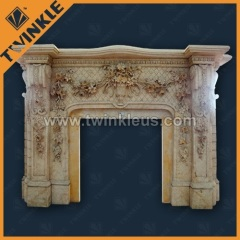 Handcarved Natural Marble Flowery Fireplace Mantel