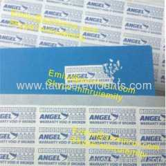 Custom small warranty stickers for tamper evident use with customized logo or name