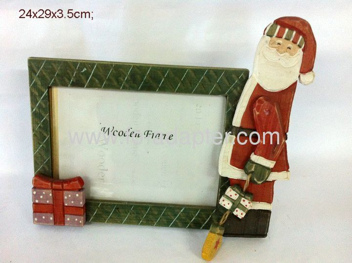 Santa Green Painting Wooden Photo Frame