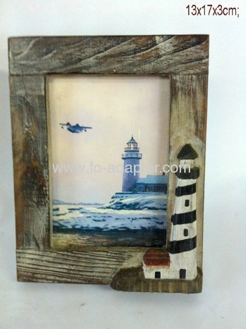Signal Tower Printing Wooden Photo Frame