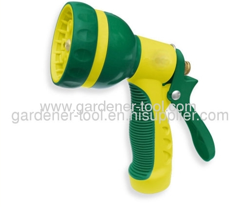 Plastic 8-dial function Garden Water Hose Nozzle With Double Color Grip