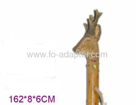 3D Carved Goat Shape Wooden Walking Stick