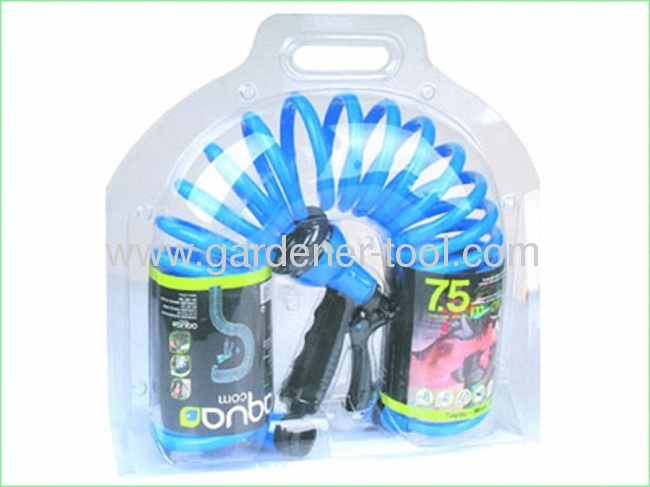 7.5M Double Color Garden Coil Hose With Plastic 8-dail Function Water Hose Nozzle