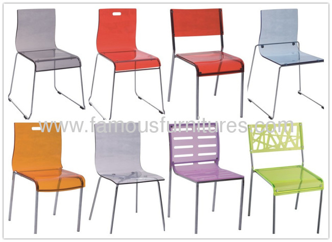 Durable Crystal Plastic Baby side Chair living room furniture dining seating for kids chairs