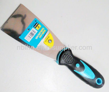 Dual color putty knife scraper paint with soft plastic rubber handle