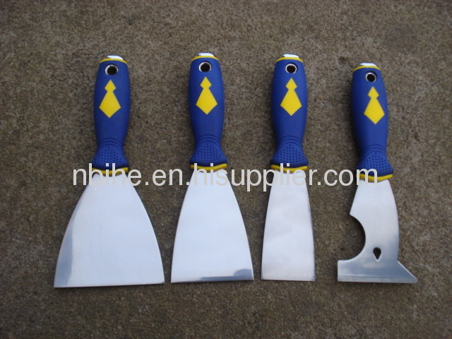4pcs Dual color putty knife scraper paint with Metal cap comfortablegrip handle