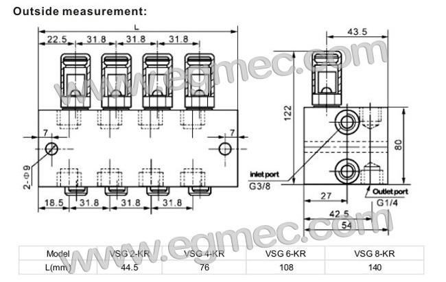 Lincoln VSKH, VSKH2-KR, VSKH4-KR, VSKH6-KR, VSKH8-KR Lubrication Distributor