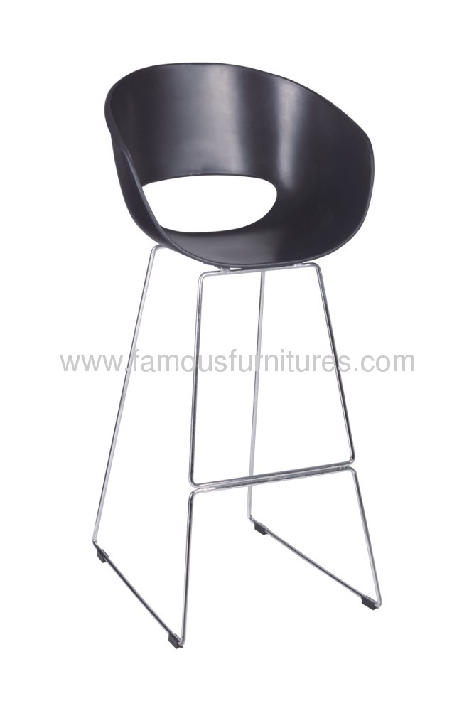 Modern Black ABS Mode Bar Chair plastic seat chromed base barstools squared footrest ergonomis chairs