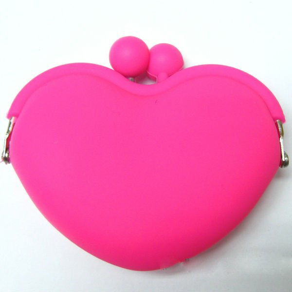 Latest heart shapesilicone coin wallet