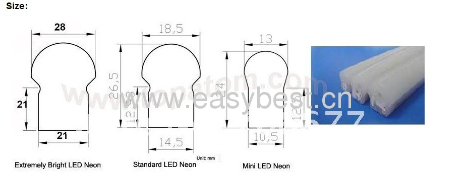 24v input voltage flexible neno tube light for house decoration
