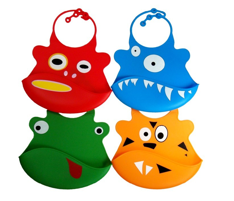 Hot sell Cute cartoon silicone baby bibs