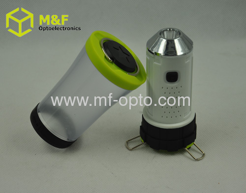 Battery powered 3W LED camp light with hook and tripod