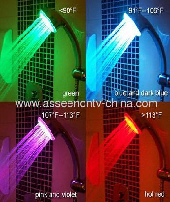 Water Powered flashing LED light shower ,LED bathroom shower head ,Temperature Sensitive colors changed