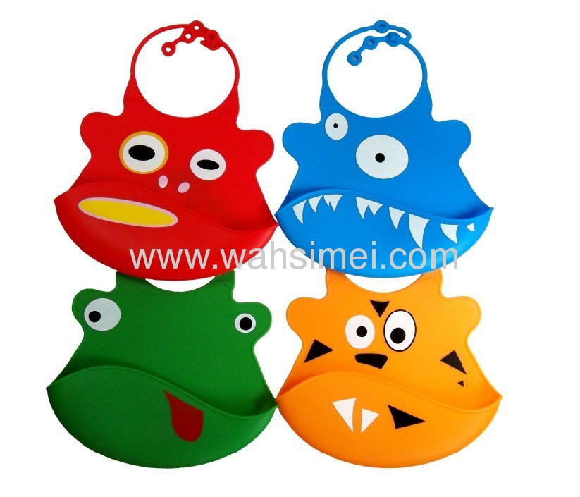 Easy wipe silicone food catcher bibs with free spoons