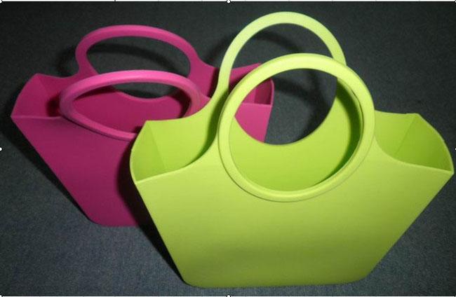 Colourful rectangle silicon lady purse handbag