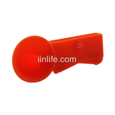 Cute Portable Silicone Horn Stand Amplifier Speaker For iPhone 4 4S 4G NEW