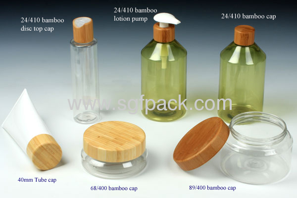 Plastic tube cap bamboo cap 40mm cosmetic container bamboo package