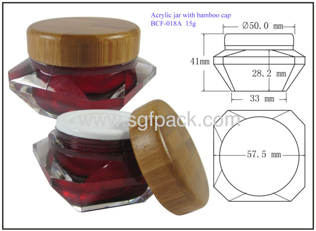 Bamboo cap for Acrylic jar diamond jar cap cream jar 15g and 30g jar cap day cream and night cream package
