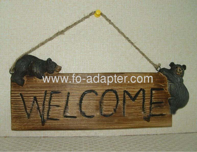 Antique Carved Wooden Welcome Sign
