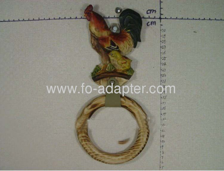 Rooster Wooden Carved Towel Ring
