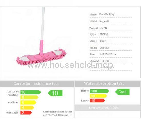 Telescopic home Microfiber Chenille pink mop