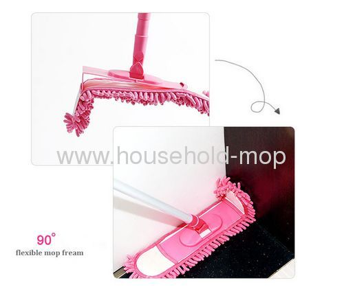 Telescopic home Microfiber Chenille pink mop