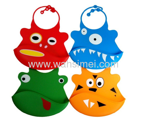 Anti-Bacterial waterproof easyclean silicone baby bib for Promotion