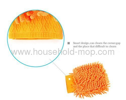 Yellow-green Microfiber Chenille Car Wash Cleaning Mitt Brush Glove Towel