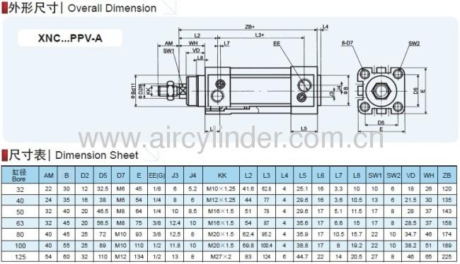 DNC ISO 15552 Standard Pneumaitc Cylinder Festo type