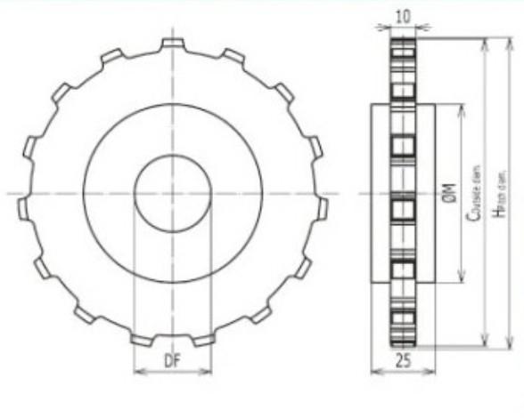 12teeth plastic sprocket serve for conveyor belt (RW- QNB 12T)