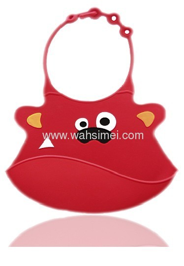 Anti-Bacterial food grade silicone baby bib with pocket