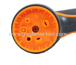 7-pattern matel garden water hose nozzle with double color on the body