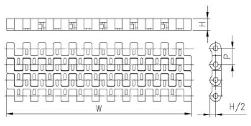 12.7mm Flush Grid Conveyor Belt (M-SNB M3)
