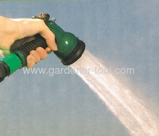 6-dial function plastic garden spray nozzle with soft hand and brass nut
