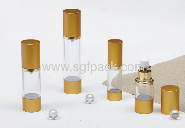 Airless bottle aluminum cap and base and AS bottle body silver color