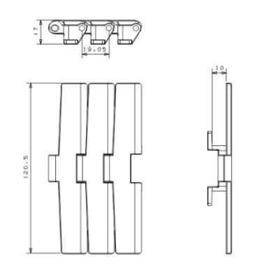 Plastic sideflexing table top conveyor chains(RW880STAB)