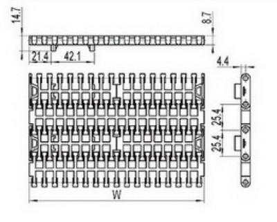 Flush Grid modular conveyor belt with positrack (RW-FGDP1000)