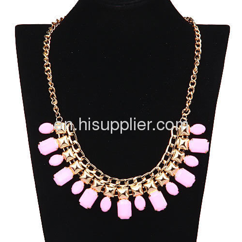 Rose Gold Plated Chunky Chain White Resin Costume Jewelry False Collar Necklace