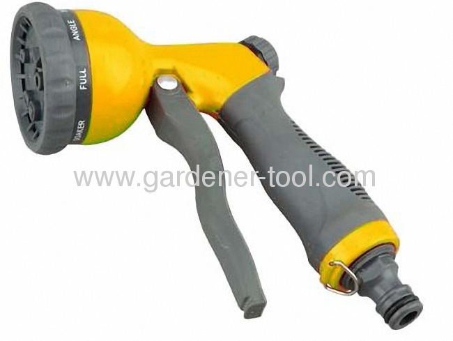Zinc 8-Way Garden Water Hose Nozzle With Soft Hand and Plastic Front Trigger.