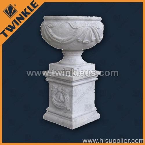 white marble garden planter