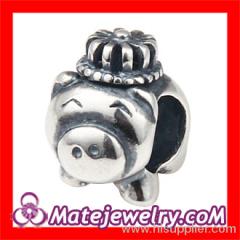 european Silver Pig Charm Beads