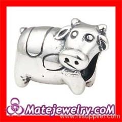 european Silver Cow Charm Beads