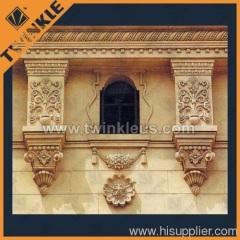 handcarved decorative stone window surround