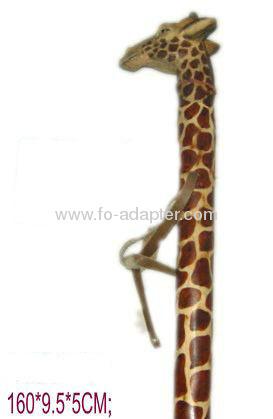 "63"" Giraffe Carved Wooden Walking Stick"