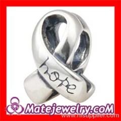 Silver european Cancer Ribbon Beads