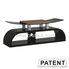 Wooden and Tempered Glass TV Stand