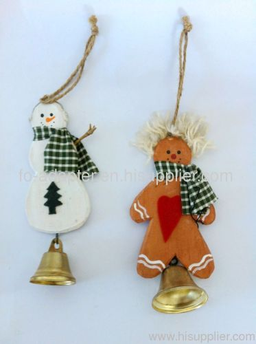 wood carved snowman ornament