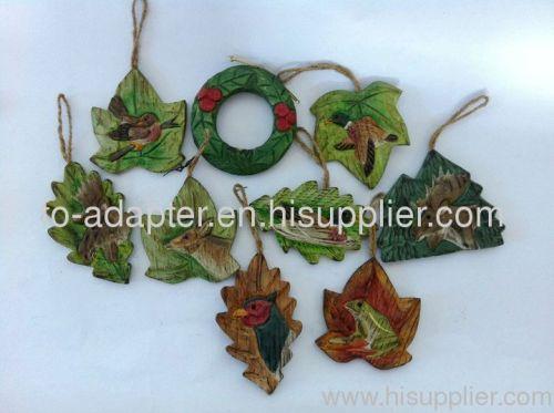 wood carved leaf shape ornament