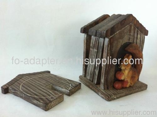 solid basswood handmade animal Coaster Holder