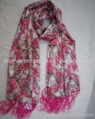 Multicolor polyester double layer printed woven scarf for spring/autumn